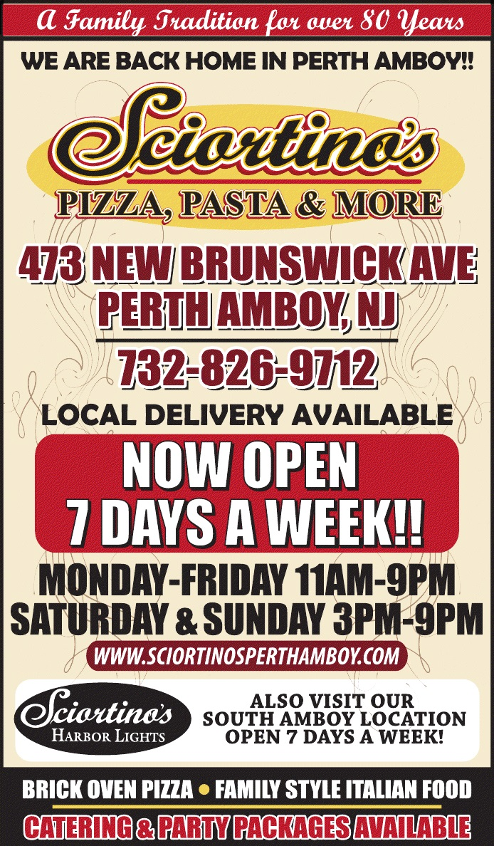sciortino 39 s restaurant and pizza in perth amboy eat in take out delivery catering 732. Black Bedroom Furniture Sets. Home Design Ideas